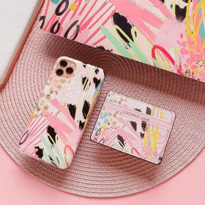 matching abstract print phone case and card holder