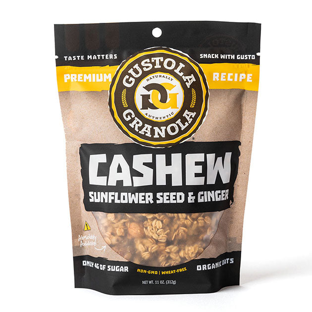 Cashew Sunflower Ginger Whole Grain Organic Granola | Gustola Granola Bags