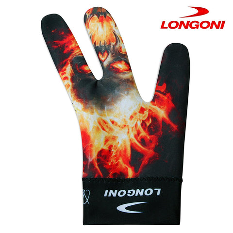 Longoni Billiard Glove Skulls Fire