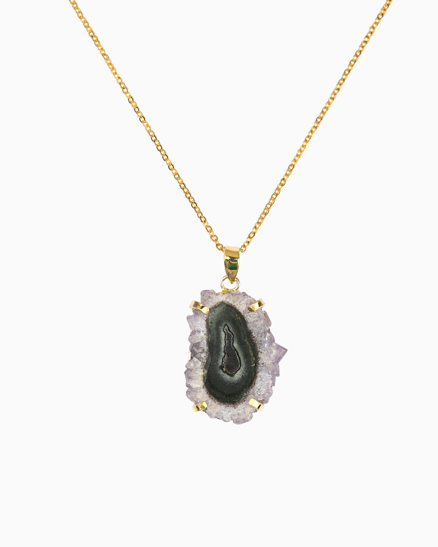 Amethyst Stalactite Gemstone Mini Necklace