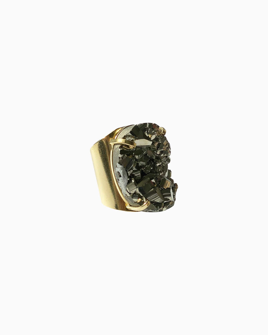 Hearts of Fire Pyrite Gemstone Ring Gold - Tiana Jewel