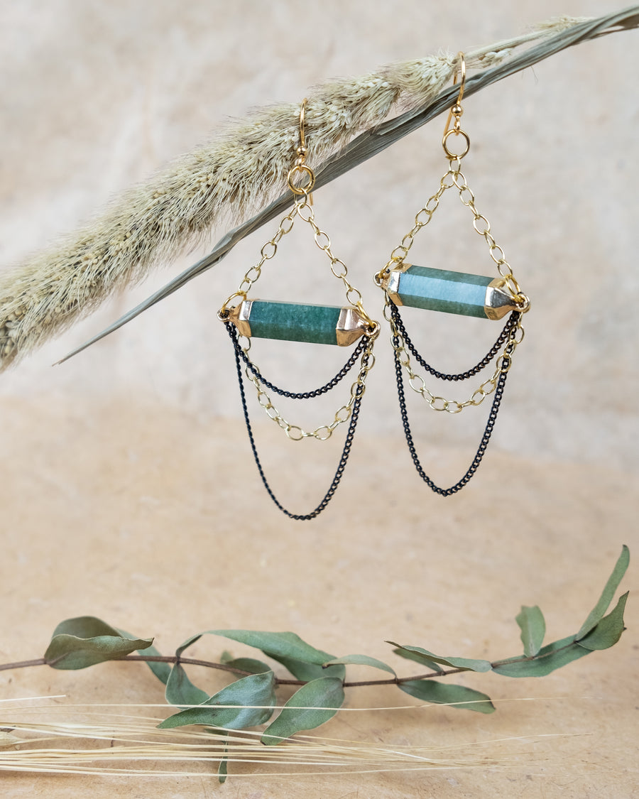 Life Green Quartz Chandelier Earrings
