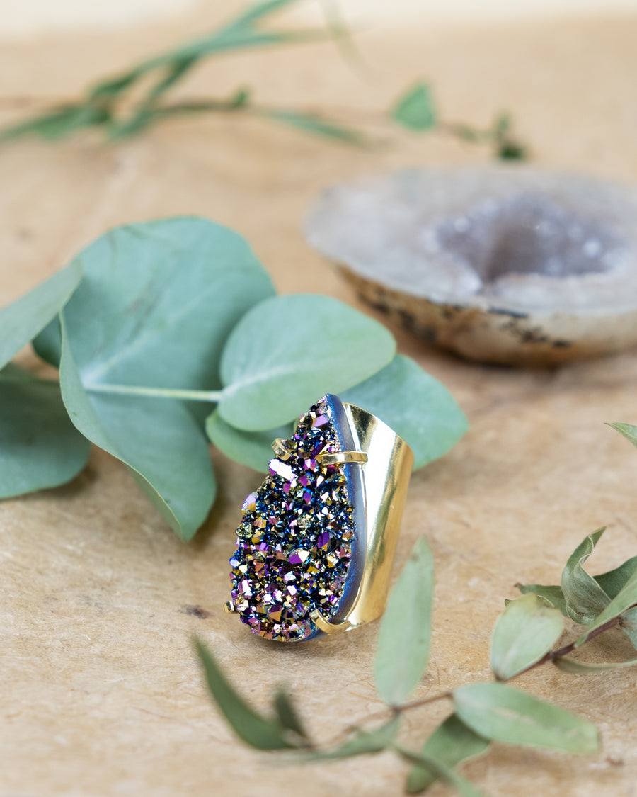 Divine Love Statement Tear Drop Rainbow Metallic Ring