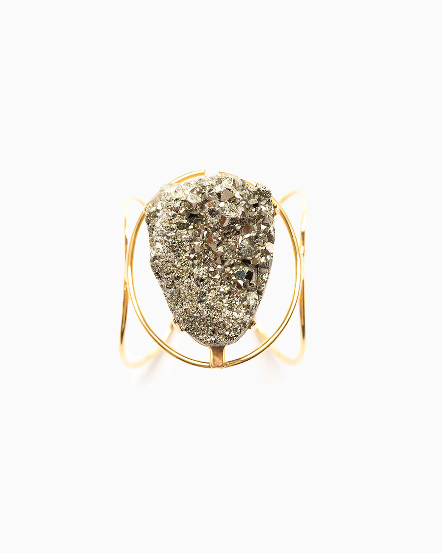 Hearts of Fire Pyrite Cuff Gold - Tiana Jewel