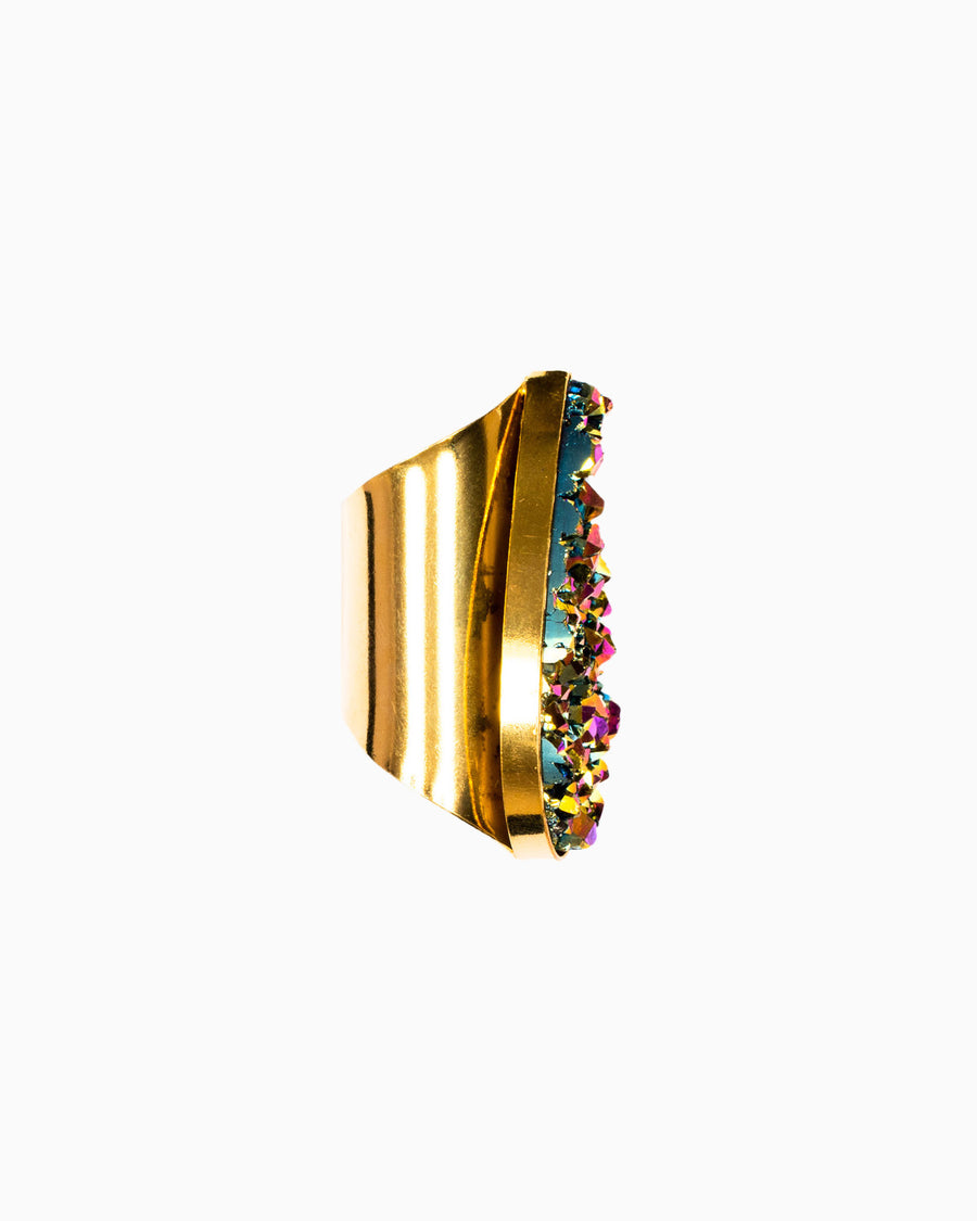 Divine Love Statement Tear Drop Rainbow Metallic Ring - Tiana Jewel