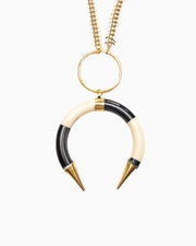 Mara Crescent Tibetan Horn Statement Necklace - Tiana Jewel
