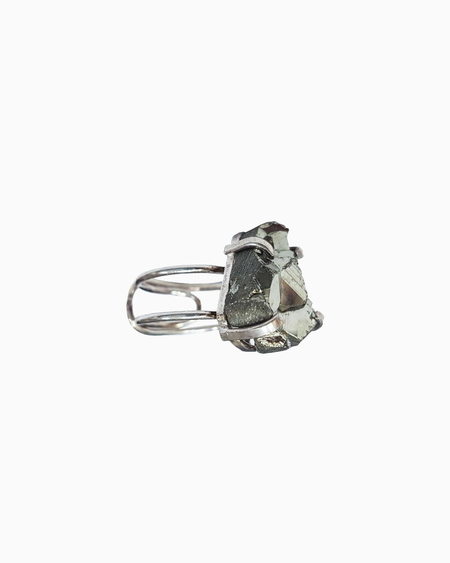 Hearts of Fire Pyrite Gemstone Ring Silver Mini - Tiana Jewel
