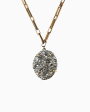 Hearts of Fire Pyrite Gemstone Necklace Gold - Tiana Jewel