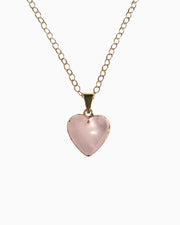 Love Yourself Rose Quartz Heart Necklace Gold - Tiana Jewel