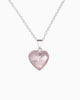 Love Yourself Rose Quartz Heart Necklace Silver - Tiana Jewel