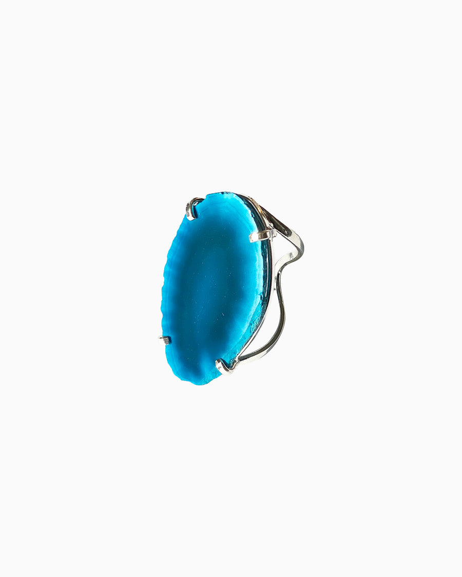 Guardian Angel Electric Blue Agate Wire RIng Silver - Tiana Jewel