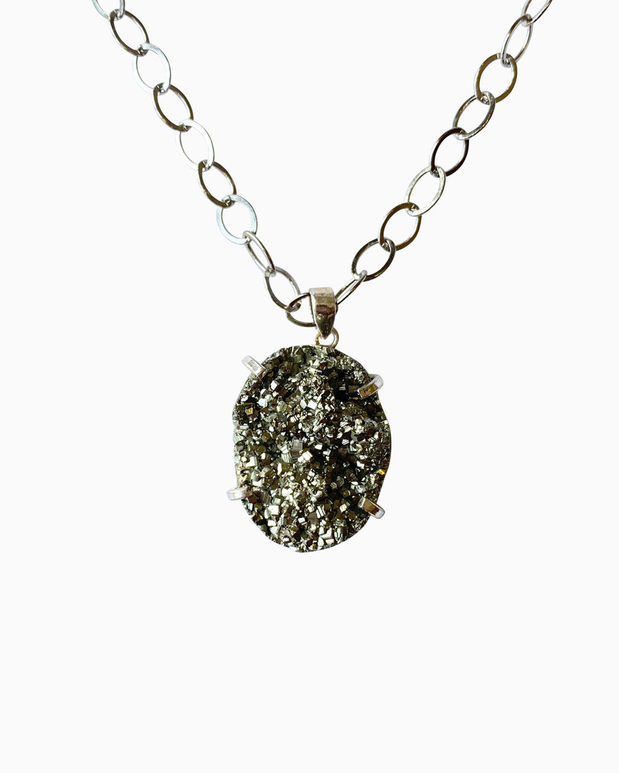Hearts of Fire Pyrite Gemstone Necklace Silver