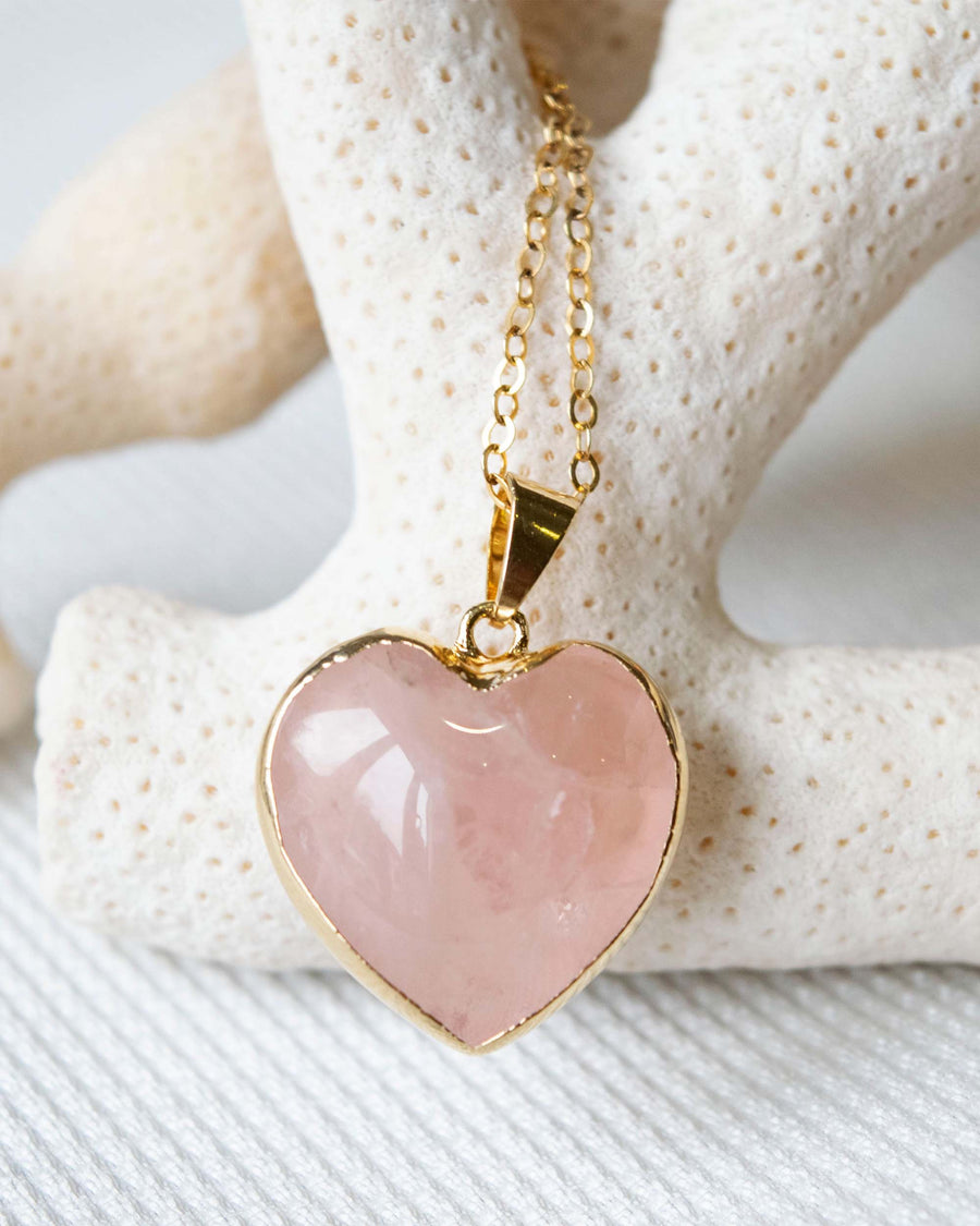 Love Yourself Rose Quartz Heart Necklace Gold