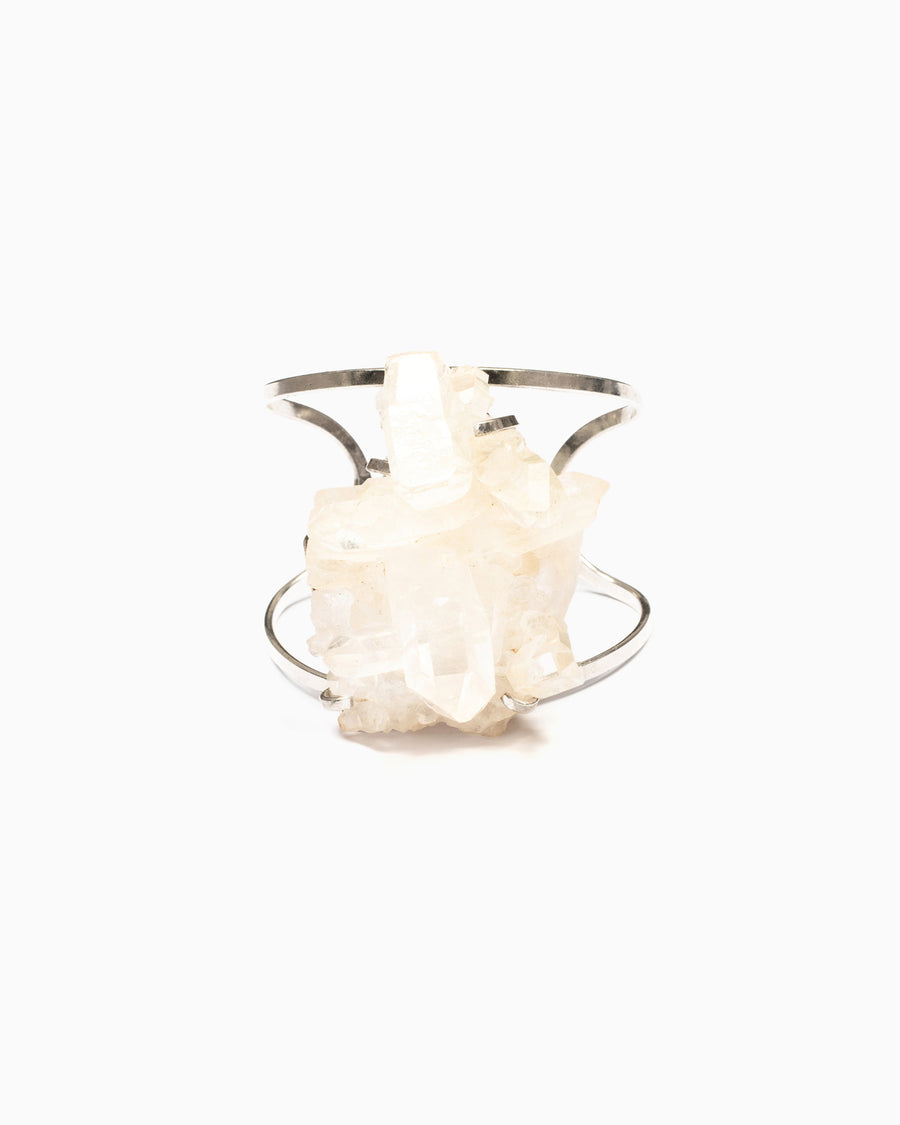Divine Goddess Clear Quartz Cuff Silver - Tiana Jewel