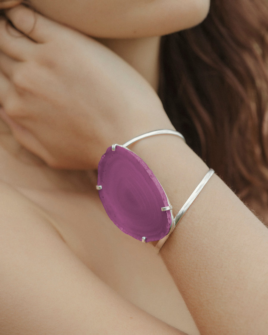 Guardian Angel Pink Agate Gemstone Cuff - Tiana Jewel