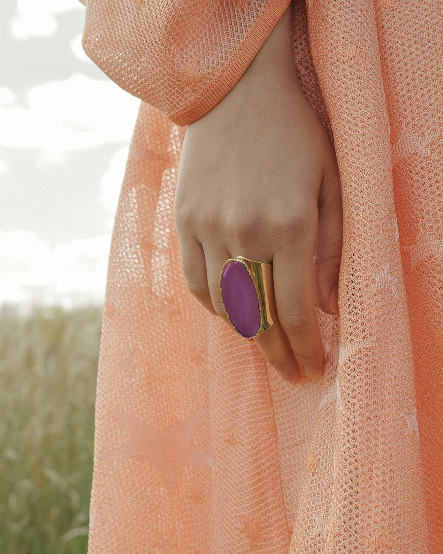 Guardian Angel Pink Agate Gemstone Ring Gold - Tiana Jewel