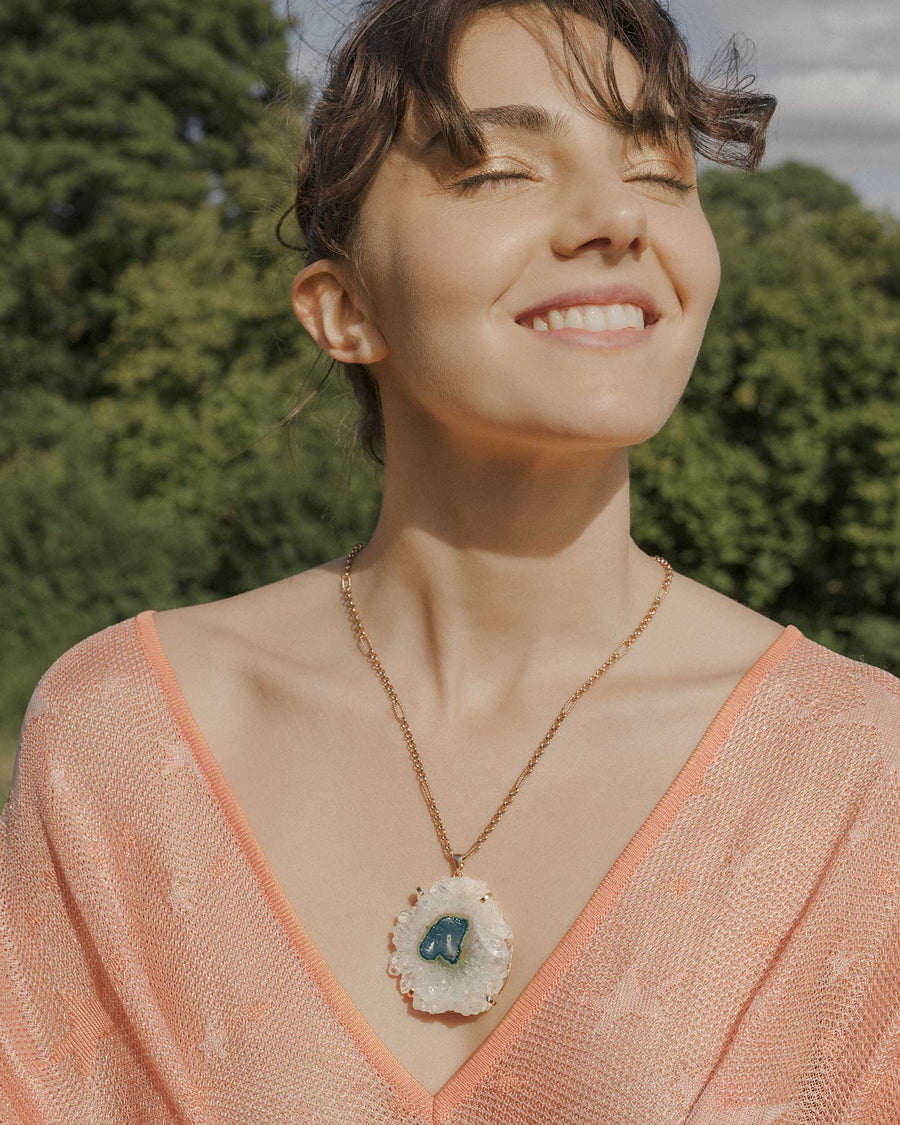 Celestial Soul Snowflake Stalactite Necklace Rose Gold - Tiana Jewel