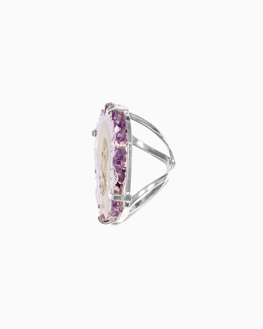 Celestial Soul Amethyst Stalactite Ring Silver - Tiana Jewel