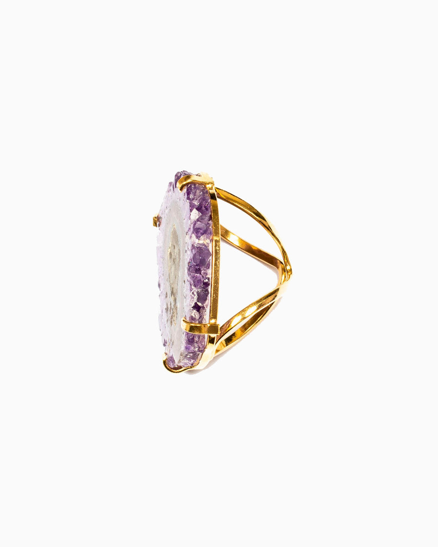 Celestial Soul Amethyst Stalactite Ring Gold - Tiana Jewel