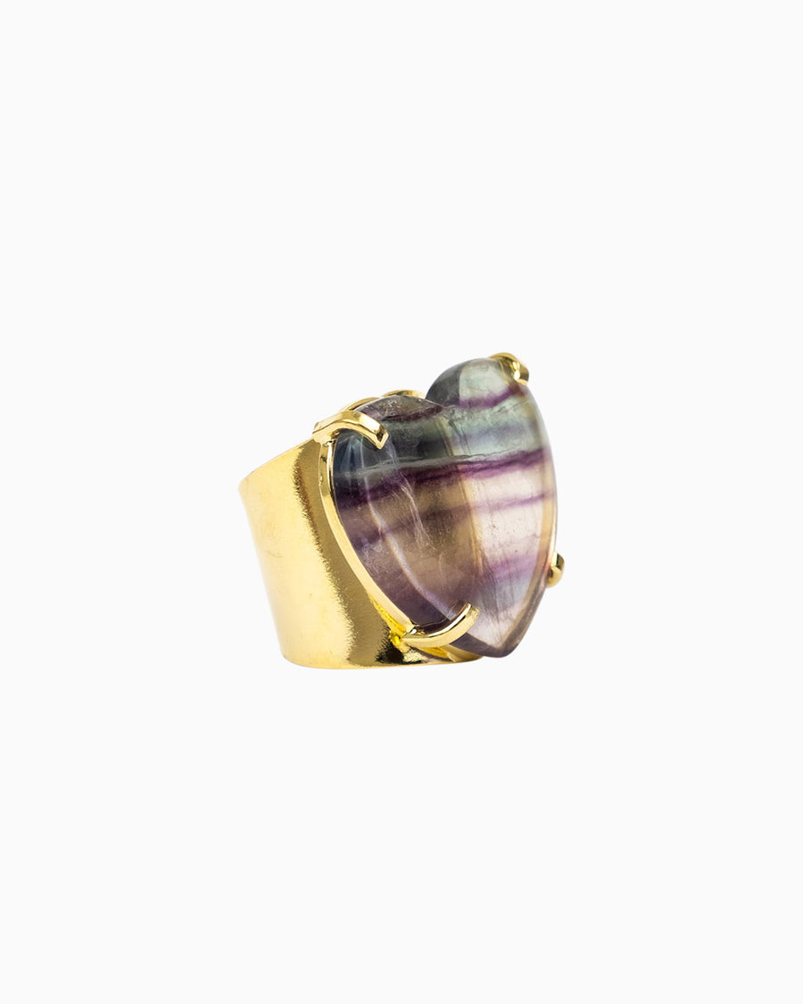 Flourite Gemstone Ring Heart Shape