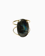 Spirit of Heart Labradorite Gemstone Cuff Gold Polished - Tiana Jewel
