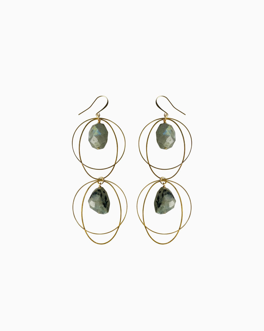 Spirit of Heart Labradorite Earrings Gold - Tiana Jewel