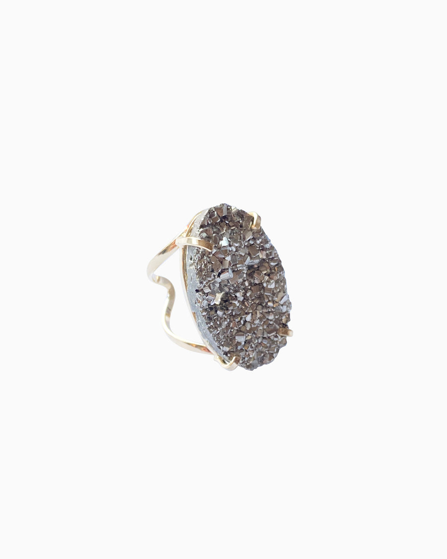 Hearts of Fire Pyrite Gemstone Ring Gold