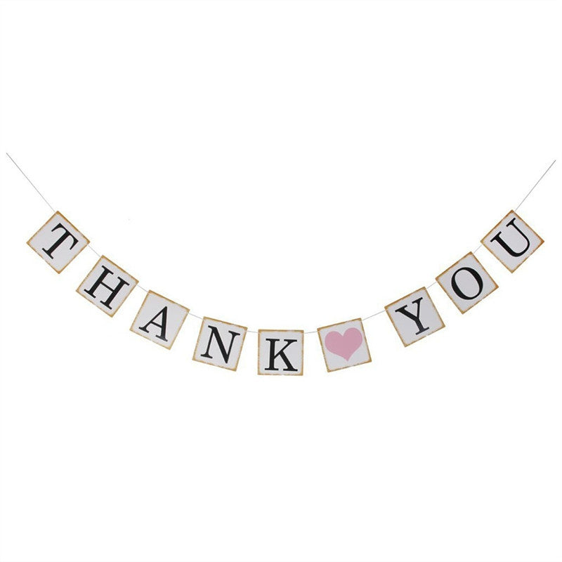 THANK YOU Bunting Banner Wedding Party Decoration Pink Heart with White String