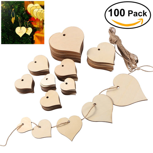 100pcs Heart Shaped Wood Slices with 10M Natural Twine for Wedding Embellishments