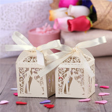 50pcs Couple Design Luxury Lase Cut Wedding Sweets Candy Gift Favour Boxes with Ribbon Table Decorations (Creamy-white)
