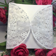 10Pcs Romantic White Wedding Party Invitation Card Delicate Carved Flowers