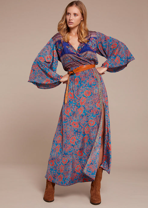 Silk Cross Kimono Long Dress 1