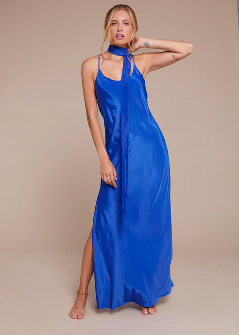 Silk Kushi Long Dress - Electric Blue
