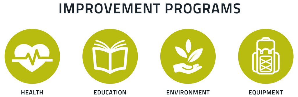 Improvement programs include health, education, environment and equipment
