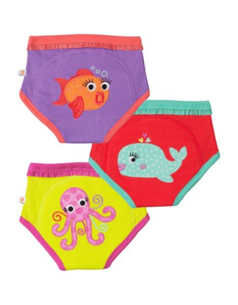 GIRLS 3 PIECE ORGANIC POTTY TRAINING PANTS SET - OCEAN FRIENDS - 3T/4T