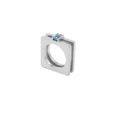 Double square ring sterling silver and topaz