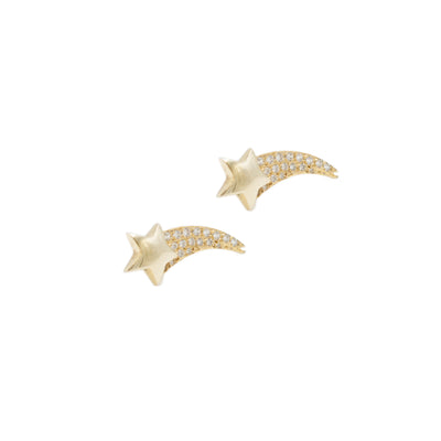 Gold18kt  stars earrings with diamonds
