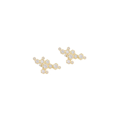 18k gold and diamonds earrings with unique design