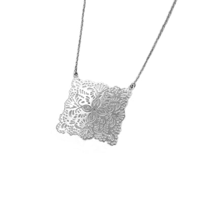mexican papel picado inspired necklace handmade in sterling silver