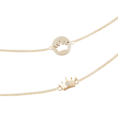 Friendship necklace gold 18k crown