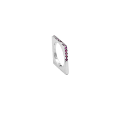 square ring elaborated in 18kts white gold and rubies