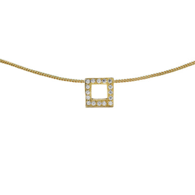 square necklace 18kt gold with diamonds