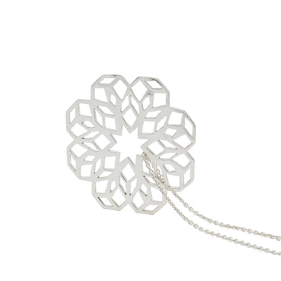 sterling silver hand made geometrical flower necklace