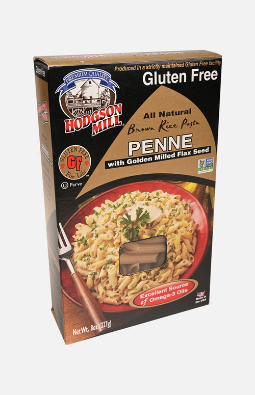 Hodgson Mill Gluten Free All Natural Brown Rice Pasta Penne with golden milled flax seed