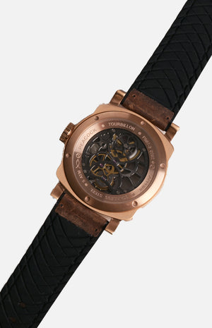 Peacock  P507-3 Rose Gold Tourbillon Movement Watch
