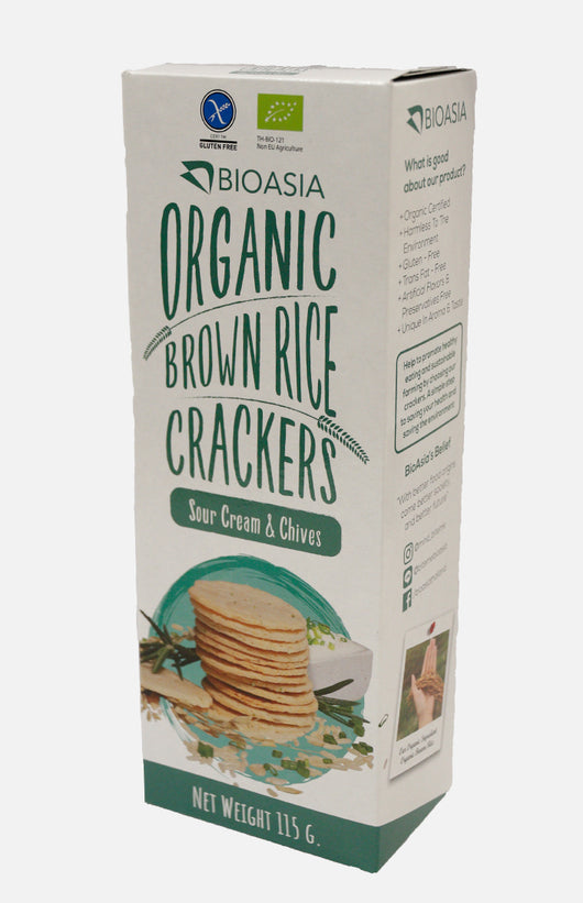 Organic Brown Rice Crackers (Sour Cream & Chives)