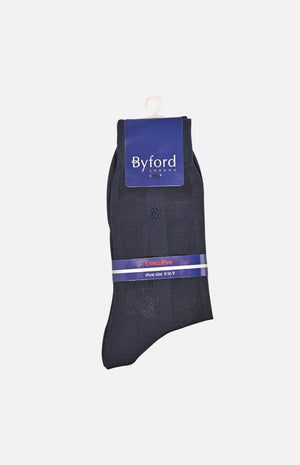 Mercerized Cotton Executive Socks(Navy)