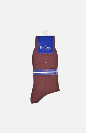 Mercerized Cotton Executive Socks(Burgundy)