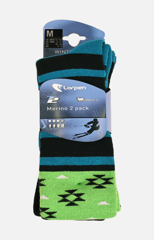 Lorpen Ski-Snowboard Merino Blend Sock 2 Pack (Blue/Green M)