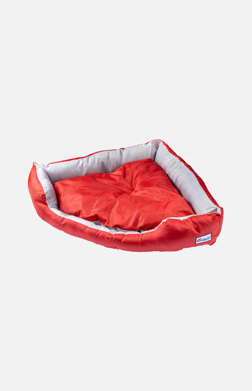 Nylon Triangle Shape Dog Bed-Red/Grey-M(62 x 52 x 15cm)